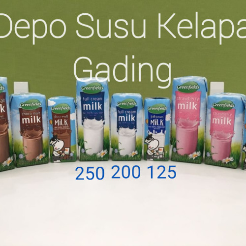 Foto Produk Susu Greenfields UHT 200 ml X 24pcs Coklat/strw/plain Greenfield 200ml - Full Cream dari Depo Susu Kelapa Gading