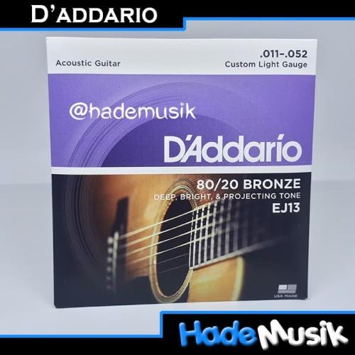 Foto Produk Senar Daddario EJ13 80/20 Bronze Gitar Akustik 11-52 (Original USA) dari Hade Musik
