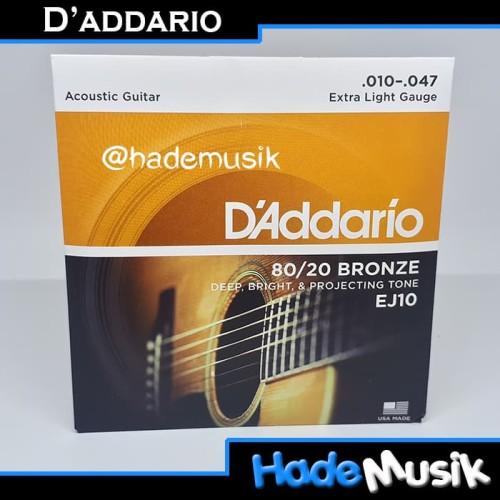 Foto Produk Senar Daddario EJ10 80/20 Bronze Gitar Akustik 10-47 (Original USA) dari Hade Musik