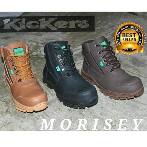Foto Produk promo.....sepatu kickers moresey sefty zipper - Cokelat Tua, 42 dari z1ra shoes