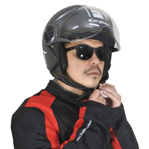 Foto Produk Cargloss YR HC Protect Helm Retro Half Face - Deep Black doff (SG) - M dari Helm Cargloss