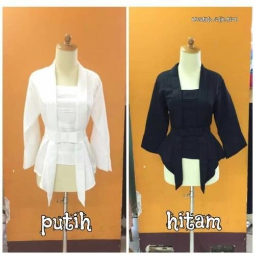 Foto Produk Kebaya Kutubaru Balotelli T017 Tangan 7/8 Warna BW atau Putih Tulang dari fashion_two