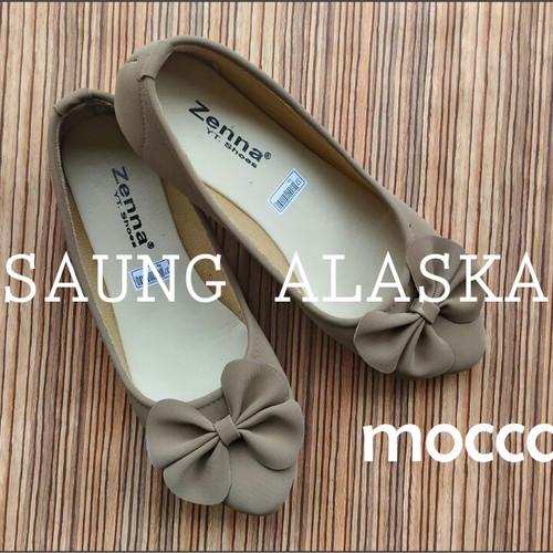 Foto Produk Sepatu Wanita Flat Shoes Pita Murah AB02 - Krem Asap, 37 dari Saung Alaska