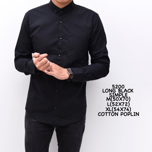 Foto Produk Kemeja Polos Hitam Cowok Panjang Kerja kantor Slimfit / Baju Pria - XL dari ALJOSA