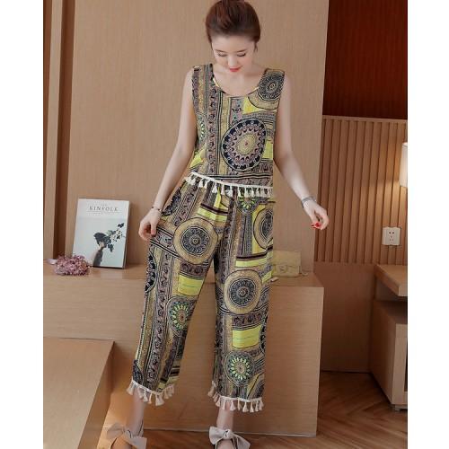 Foto Produk Baju Setelan Top & Pants Wanita Yellow Geometric (L) Import Original dari Fashion-21