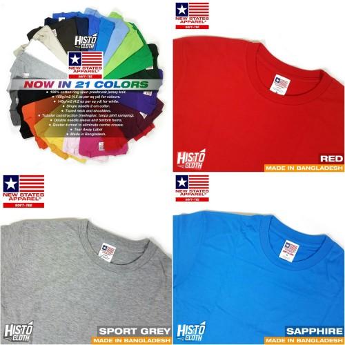 Foto Produk Kaos Polos New States Apparel (NSA) Softstyle 3600 Import Original SBY dari Histocloth