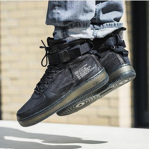 Nike Air Force 1 Mid Special Field Black Camo Tiger Premium Quality - Hitam 44