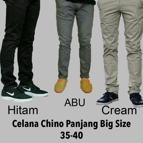 Foto Produk Celana chino panjang pria Abu abu size 35-40 jumbo dari Baijonk Store Bandung