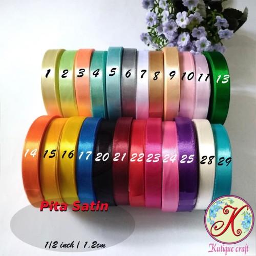Foto Produk Pita Satin 1/2 Inch / 1,2 cm per roll Warna Kedua - 22. Merah dari Kutique Craft