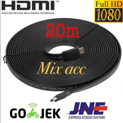 Foto Produk KABEL HDMI TO HDMI 20M FLAT VERSI 1.4 3D 1080P 20 m MALE to MALE dari Mix acc88