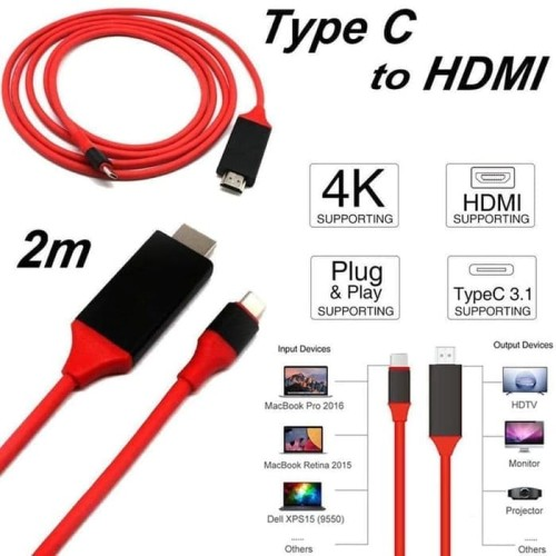 Foto Produk USB TYPE-C TO HDMI CABLE FOR GALAXY S8 S9 MATE 10 Macbook 2017 2M dari acc pusat jakarta