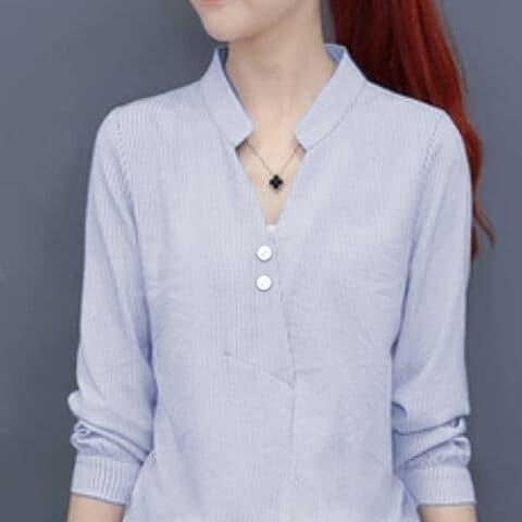 Foto Produk [sanghai button blue RO] blouse wanita katun strip biru dari FASHIONISTA's GROSIR