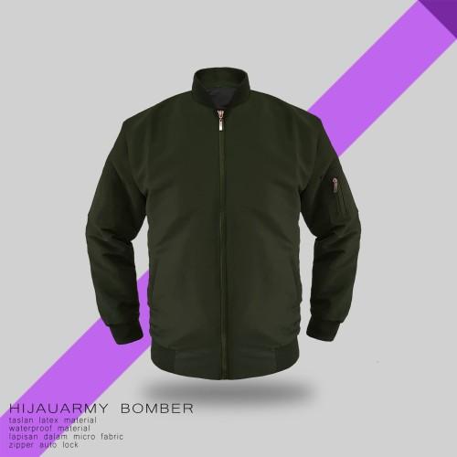 Foto Produk JAKET BOMBER HIJAU ARMY TASLAN - SIZE S dari bosku.apparel