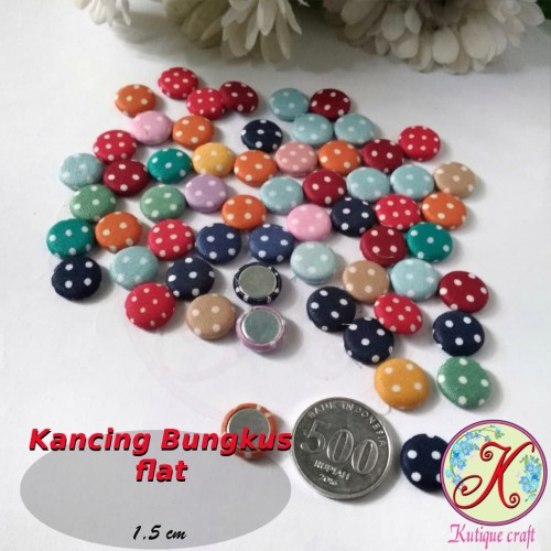 Foto Produk Kancing Bungkus Flat 1,5cm Mix per pack dari Kutique Craft