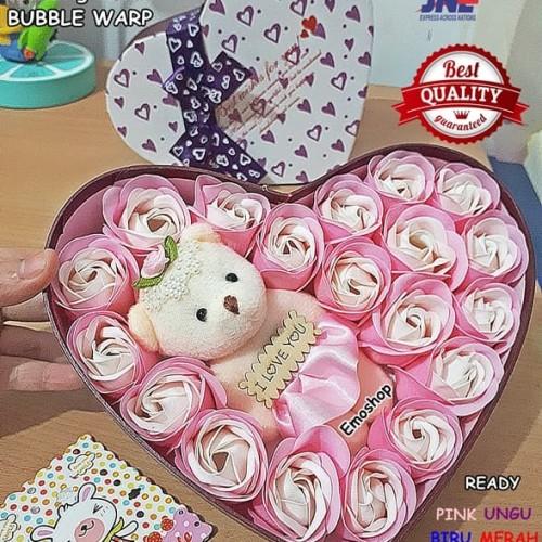 Foto Produk Bouquet Flower Soap + LoveBox+Free Gift Card, kado unikmurah,wisuda - Merah Muda dari Emo Shop