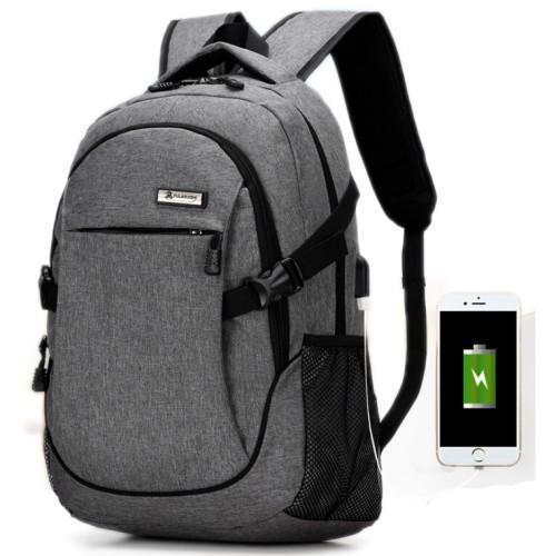 Foto Produk Tas Ransel Laptop Oxford Pria dengan USB Charger Port - Gray dari Rimas Technology