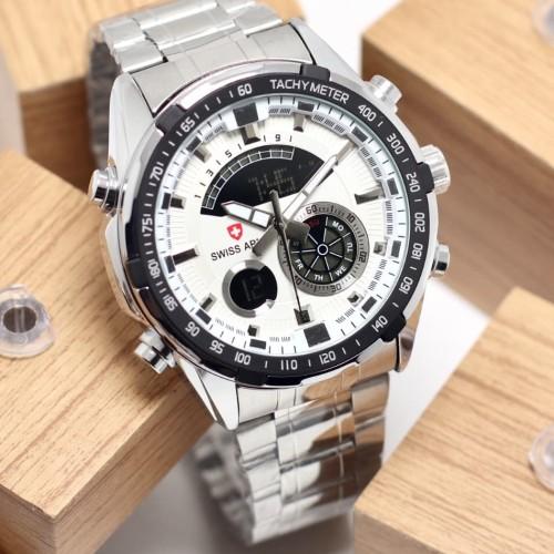 Foto Produk jam tangan SWISS ARMY PRIA DUALTIME TACHYMETER RANTAI STAINLES - Silver Putih dari Multyshop MSI