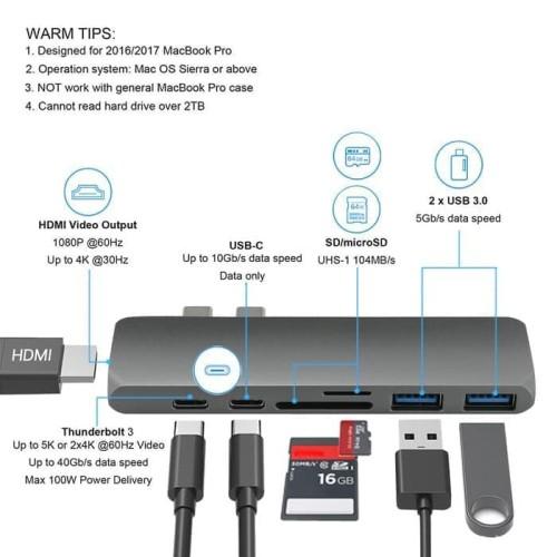 Foto Produk USB Type C Hub to HDMI Adapter Macbook pro USB 3.0 7 in 1 - silver dari acc pusat jakarta