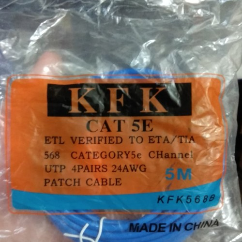 Foto Produk Patch Cord UTP Cat 5e , 5 Meter Warna: Biru dari Palugada Distribusi