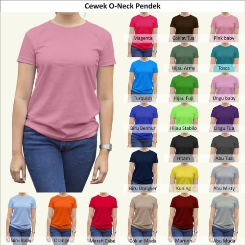 Foto Produk Tshirt / Kaos Polos Oneck Wanita / Cewek, Combed Murah Grosir - Oneck Wanita dari Indo Tees Factory