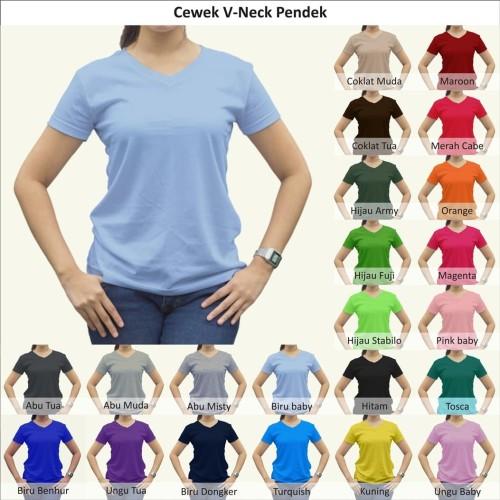 Foto Produk Tshirt / Kaos Polos Vneck Wanita / Cewek, Combed Murah Grosir - Vneck Wanita dari Indo Tees Factory