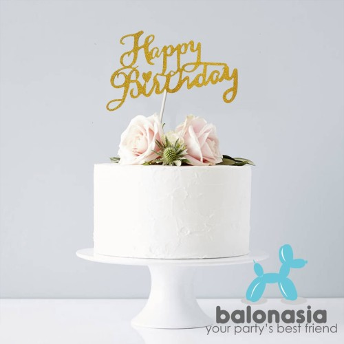 Foto Produk Balonasia Cake Topper Happy Birthday Paper Glitter - Gold dari Balonasia