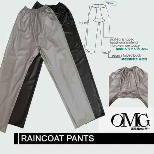 Foto Produk Celana Jas Hujan Karet OMG WaterProof Raincoat Pants Anti Air PVC OKE - Abu-abu Muda dari lbagstore