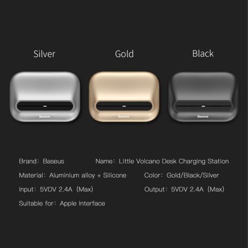 Foto Produk Baseus Little Volcano Desk Charging Station untuk Iphone atau Apple - Hitam dari Cute Agassi