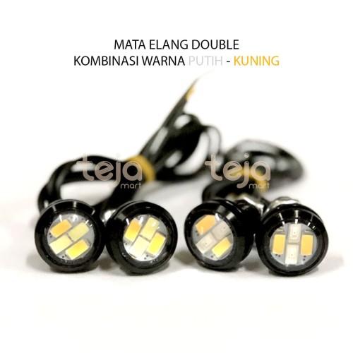 Foto Produk Lampu LED Mata Elang 2 warna 2in1 Eagle Eyes Sein Senja Mobil Motor DC - merah-kuning dari TejaMart