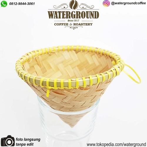 Foto Produk Bamboo Coffee Dripper V60-01 Natural Dripper Unik Alami Alat Kopi Sedu dari WATERGROUND COFFEE