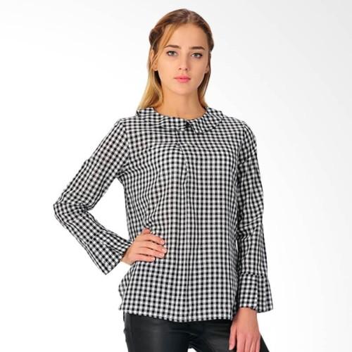 Foto Produk Blouse Wanita SJO Tivoly Lengan Panjang Hitam Kotak-kotak - Hitam, S dari SJO & SIMPAPLY