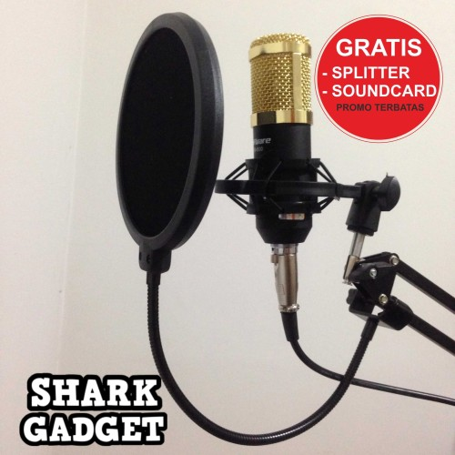 Foto Produk PAKET KARAOKE / RECORDING Microphone BM 800 Stand Mic + Pop Filter dari Shark Gadget
