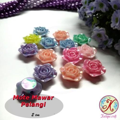 Foto Produk Mote Resin Mawar Pelangi Besar mix warna per lusin dari Kutique Craft