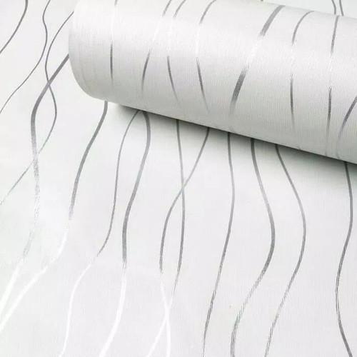 Foto Produk Wallpaper salur minimalis putih 45 cm x 10 mtr || Wallpaper dinding dari dedengkot wallpaper