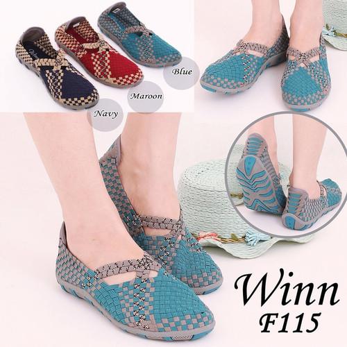 Foto Produk Winn 115 Flat Original INCLUDE BOX Sepatu Rajut Anyaman Wanita Fashi dari Pediashoes