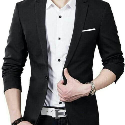 Foto Produk [Blazer Hugo1 black OT] blazer pria katun stretch hitam dari FASHIONISTA's GROSIR