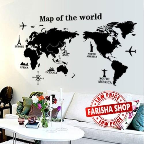 Foto Produk Map of The World AY9133 - Stiker Dinding / Wall Sticker dari farisha shop