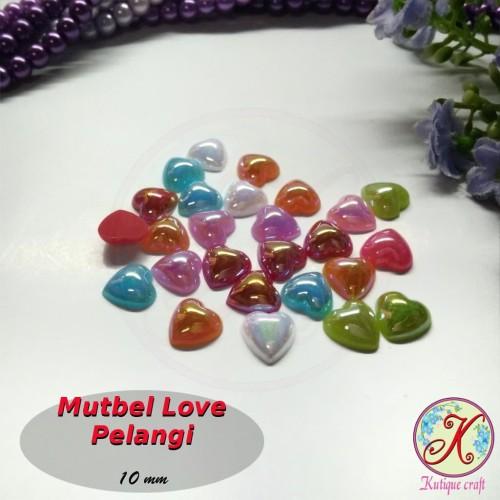 Foto Produk Mutiara Belah / Mutbel Love / Hati Pelangi 10mm mix warna per pack dari Kutique Craft
