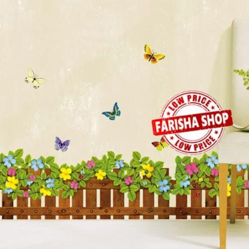 Foto Produk Pagar Bunga warna-warni JM8262 - Stiker Dinding / Wall Sticker (50x70) dari farisha shop