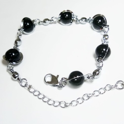 Foto Produk VeE Gelang Tangan Wanita Lapis Emas 18K Batu Giok Hitam Bulat - Perak dari Vee Jewelry