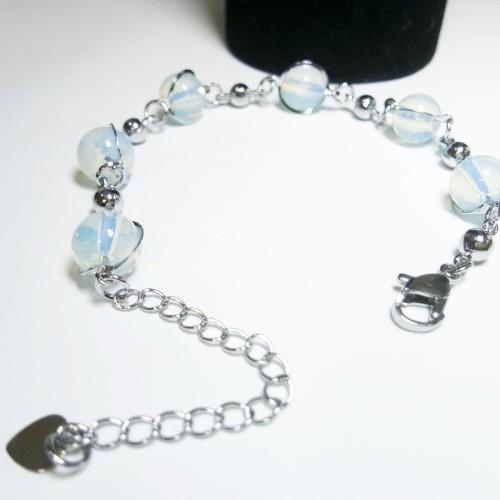 Foto Produk VeE Gelang Tangan Wanita Lapis Emas 18K Batu kalimaya Api Bulat dari Vee Jewelry