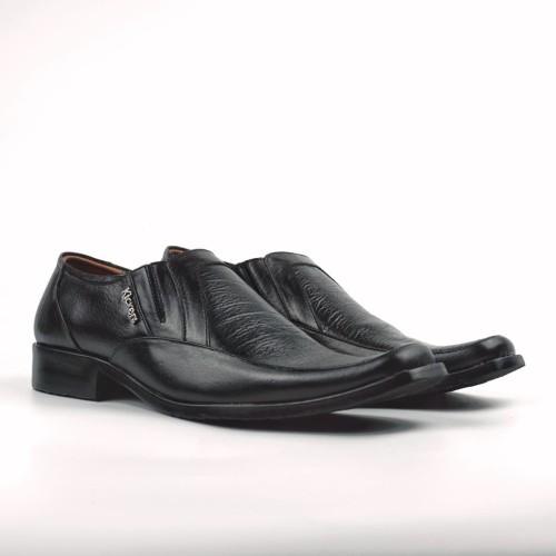 Foto Produk Sepatu Kulit Pria KS007 Sepatu Pantofel Formal SlipOn Motif Cetak kayu - Hitam, 38 dari FORDZA Shop