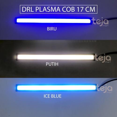 Foto Produk SEPASANG LAMPU DRL PLASMA LED COB 17CM PUTIH/BIRU DEPAN MOTOR MOBIL 17 - Biru dari TejaMart