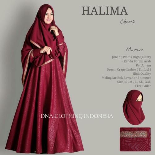 Foto Produk Halima syari setelan gamis muslim polos cadar niqab busui umbrella ori dari wirawan asli