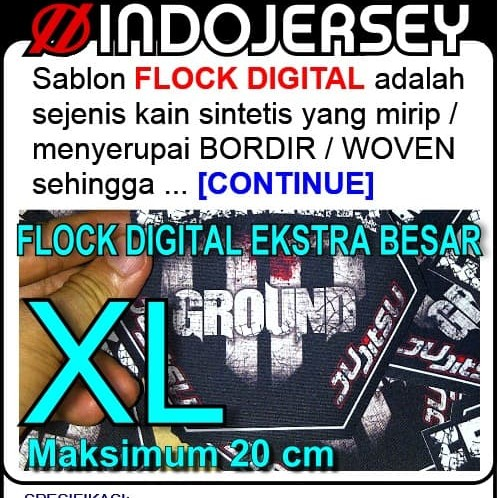 Foto Produk Stiker Baju CUSTOM LOGO FLOCK EKSTRA BESAR dari Indojersey Official Store