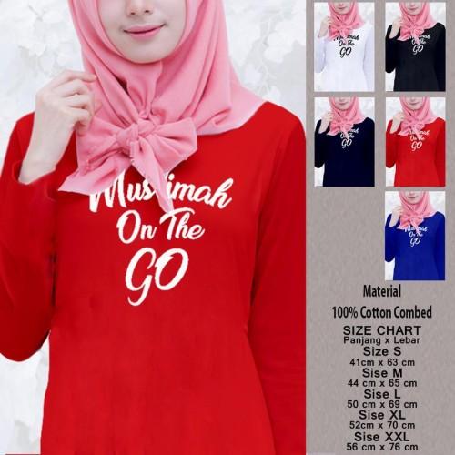 Foto Produk Kaos Baju Muslim Wanita Panjang SN-WLMSMY378 MUSLIMAH ON THE GO - Putih, M dari Supplier NatGeo