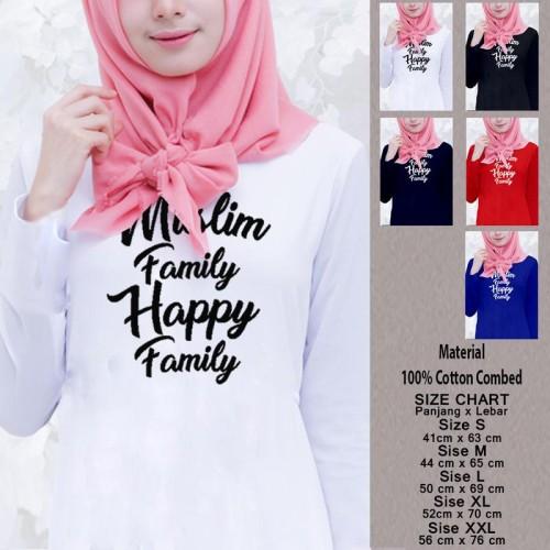 Foto Produk Kaos Muslim Wanita Panjang SN-WLMSMY375 MUSLIM FAMILY HAPPY FAMILY - Putih, S dari Supplier NatGeo