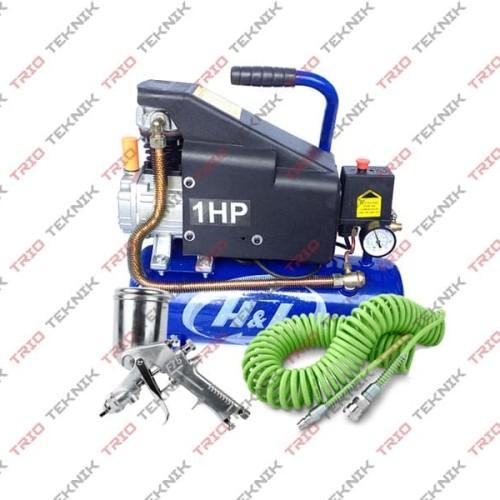Foto Produk Paket Kompresor Angin/Listrik H&L + Spraygun dari Trio Teknik