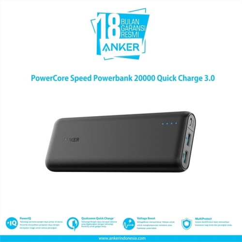 Foto Produk Anker PowerCore Speed Powerbank 20000 Quick Charge 3.0 - [A1278H11] dari manekistore