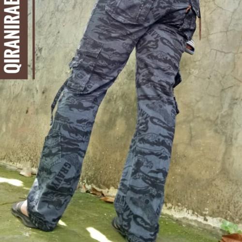 Foto Produk Celana Cargo Panjang Doreng Warna Krem Big Size 27 sd 38 - Navy dari QIRANI & RABBANI SHOP